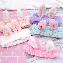 Women Makeup Hair Band Lovely Bunny Ears Hairbands Soft Velvet Wash Face Bath Headband Girls Head Wrap Turban Accessories