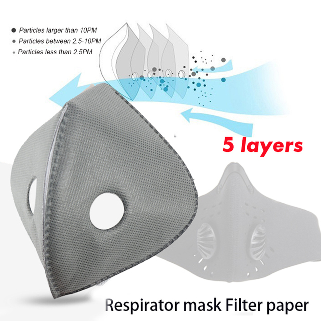 PM2.5 Face Mask Filter Paper Activated Carbon Filter Anti Allergy Flu Dustproof For Double Respirator Mouth Mask health care