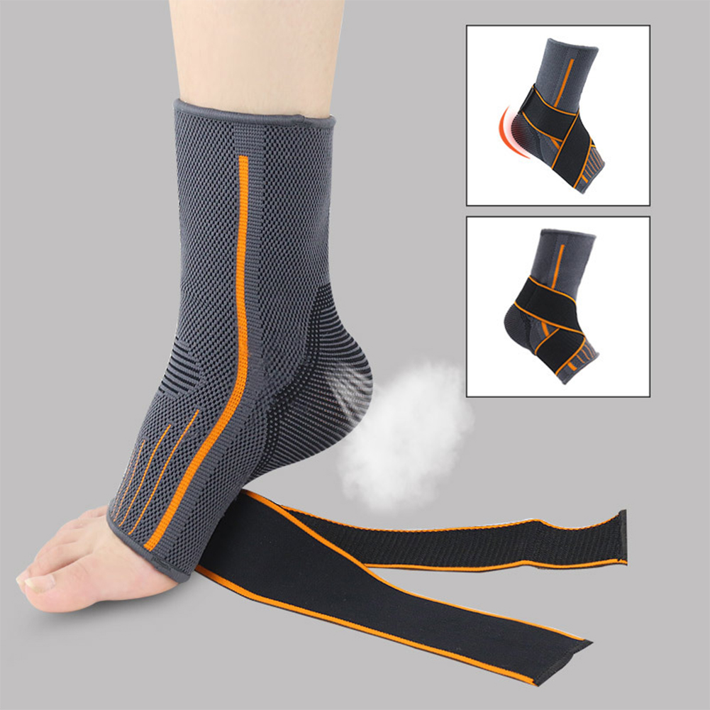 1pc Basketball Running Elastic Nylon Warm Brace Gym Sports Sprain Prevention Protector Striped Strap Ankle Support Breathable