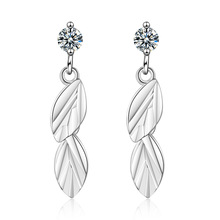 100% Plata de Ley 925 elegante planta de hoja de cristal brillante damas borla pendientes promoción joyería mujeres niñas regalo barato