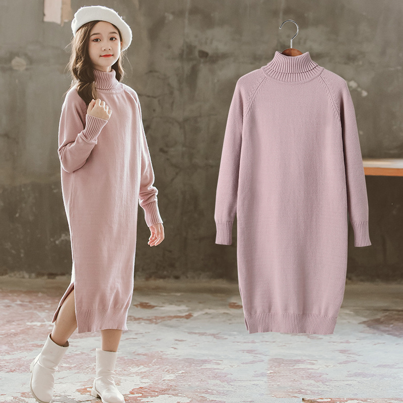 Pink Khaki Long Knitting Spring Winter Warm Sweater Girls Kids Plus Velvet Toddler Teens Tops Thicken Children High Quality
