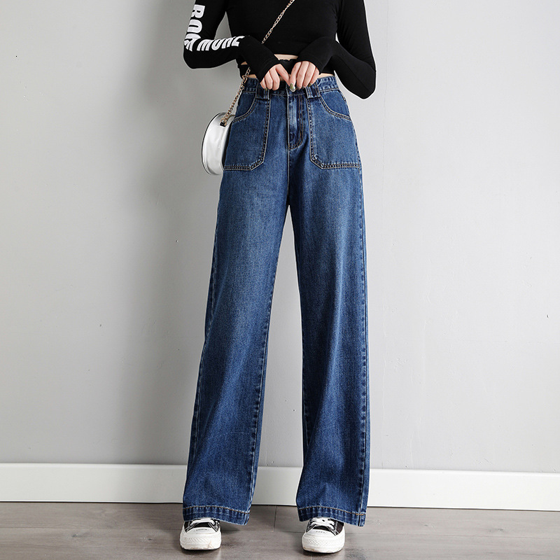 #3208 2019 Autumn Casual High Waist Boyfriend Jeans For Women Blue Grey High Waisted Wide Leg Jeans Loose Full Length Straight