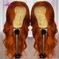 Прозрачные кружевные парики бразильские волнистые волосы парики 13x6 оранжевый имбирь Цвет предварительно вырезанные кружевные передние па...
