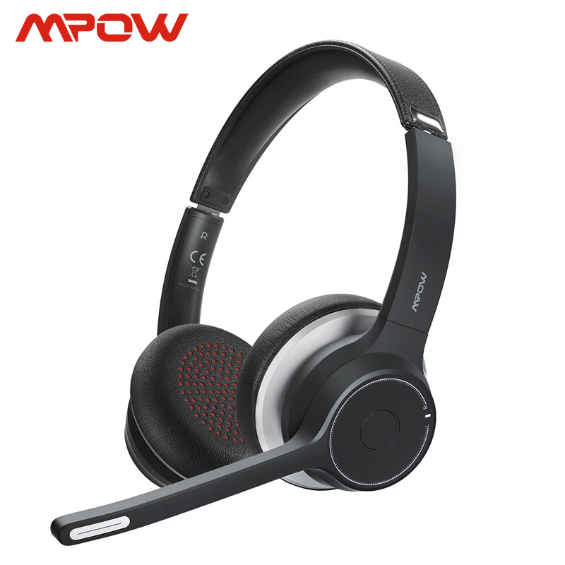 Mpow HC5 Bluetooth Headsets For Call Center Driver Office Wireless Wired 2 In 1 22h Battery Life CVC 8.0 Noise Cancelling Mic