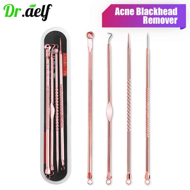4PCS/set Stainless Steel Acne Blackhead Remover Needles Tool Comedone Extractor Pimple Blemish Face Skin Care Beauty Tools