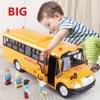 Aluminiowy autobus szkolny inercyjny metalowy Model autobusu zabawka samochód towar akustyczno-optyczny pojazd oświetlenie muzyka samochodzik zabawka dla dzieci chłopiec prezent