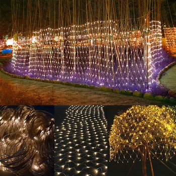 Net 2x3m 204 LED String Lights Tree-wrap with 8 modes for Wedding Christmas Living Room Outdoor Garden