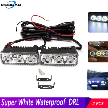 Daytime Running Light With Lens DRL 2X3 LED 9W DC 12-24V White 6000K Fog Lamps Super White 6000K Universal Fog Work Light цена 2017