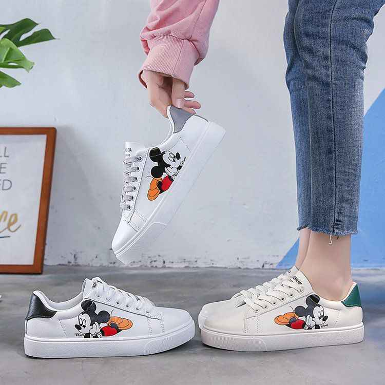 2020 Frühjahr Casual Schuhe Kleine Weiße Schuhe PU Weibliche Mickey Cartoon Atmungs Plattform Erhöht Turnschuhe 35-40 Zapatos Mujer