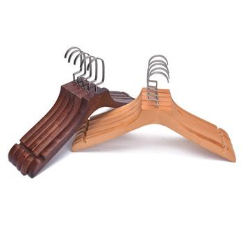 5 uds. Suspensión de madera antideslizante barra gruesa ganchos cromados Extra fuertes para traje de abrigo de Hotel DNJ998