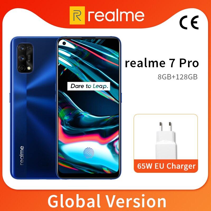 Realme 7 Pro, 8 ГБ, 128 ГБ, мобильный телефон, 6,4 дюйма, AMOLED, полноэкранный процессор, Snapdragon 720, 8 ядер, 64 МП, четырехъядерная камера, 4500 мАч, 65 Вт, зарядка