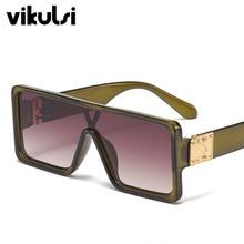 Men Green Square Sunglasses Flat Top Brand