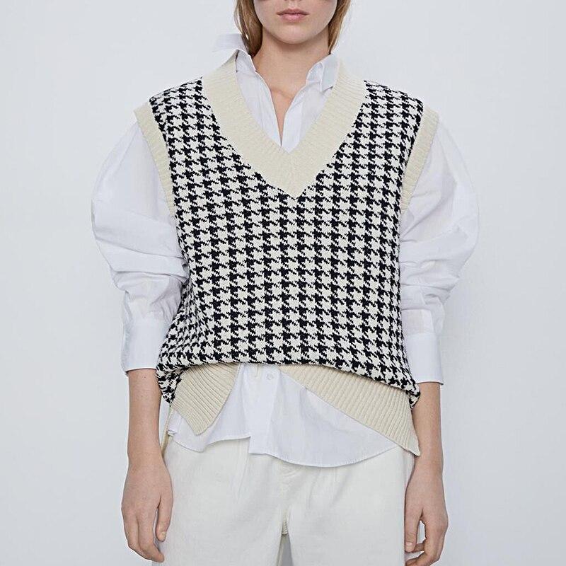 women 2020 fashion oversized knitted vest sweater V neck sleeveless houndstooth loose female waistcoat chic tops(China)