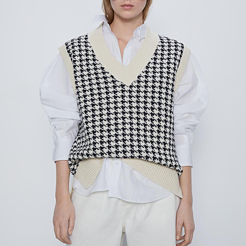 women 2020 fashion oversized knitted vest sweater V neck sleeveless houndstooth loose female waistcoat chic tops