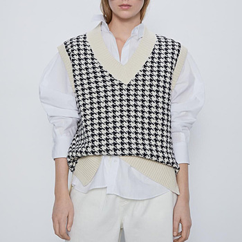 women 2020 fashion oversized knitted vest sweater V neck sleeveless houndstooth loose female waistcoat chic tops