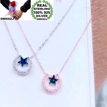 OMHXZJ Wholesale XR201 European Fashion Woman Party Birthday Wedding Gift Moon Star Zircon 100% 925 Sterling Silver Necklace 1PC(China)