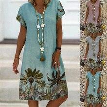 Summer Printed Short Sleeve V-neck Mid Length Dress Lady Flower Print Knee Length Skirt Women Beach Sundress Vestido De Mujer