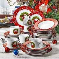 VEWEET 30 pièces porcelaine motif de noël dîner Combi-Set vaisselle avec tasse soucoupe assiette à Dessert assiette creuse assiette à dîner