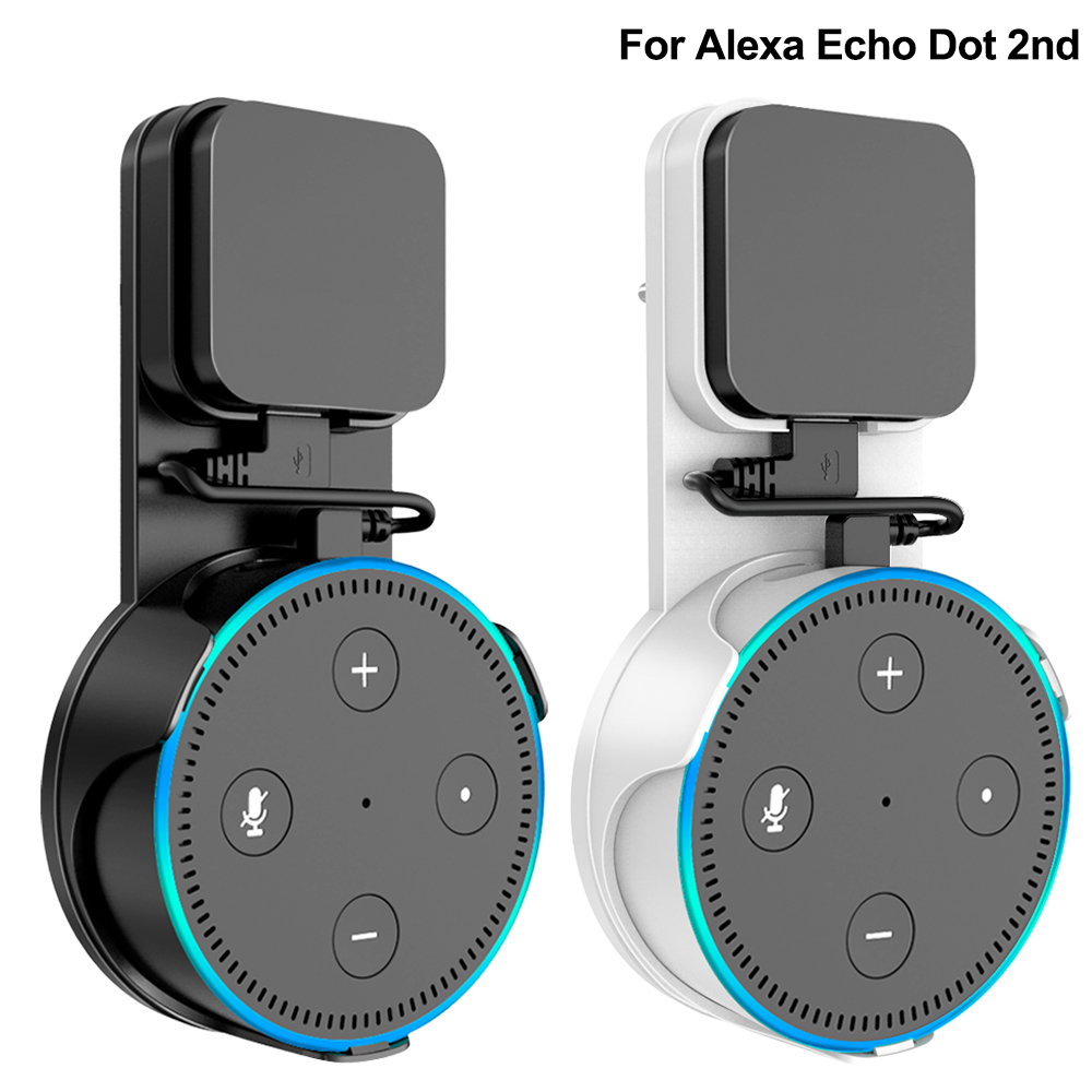 Wall Mount Bracket For Alexa Echo Dot 2nd Generation Sperker Stand Support UK/EU Plug Stand With Micro USB Cable