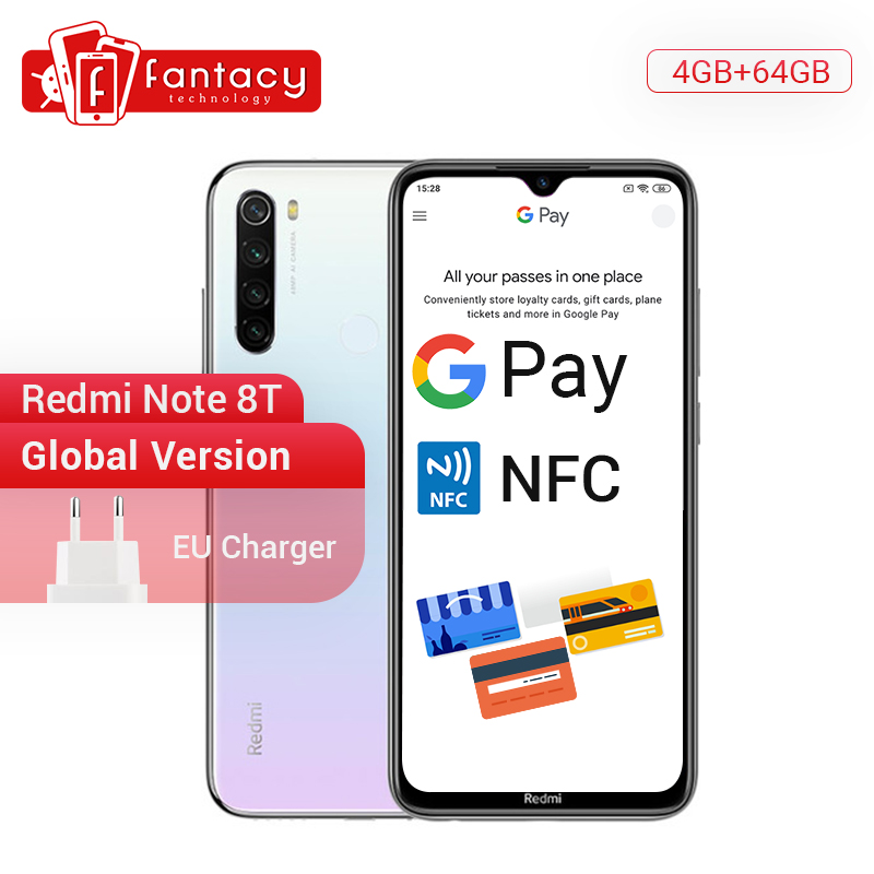 New Arrival Global Version Redmi Note 8T 8 T 4GB RAM 64GB ROM Snapdragon 665 Octa Core 6.3' FHD+ 48MP QuadCamera 4000mAh 18W NFC