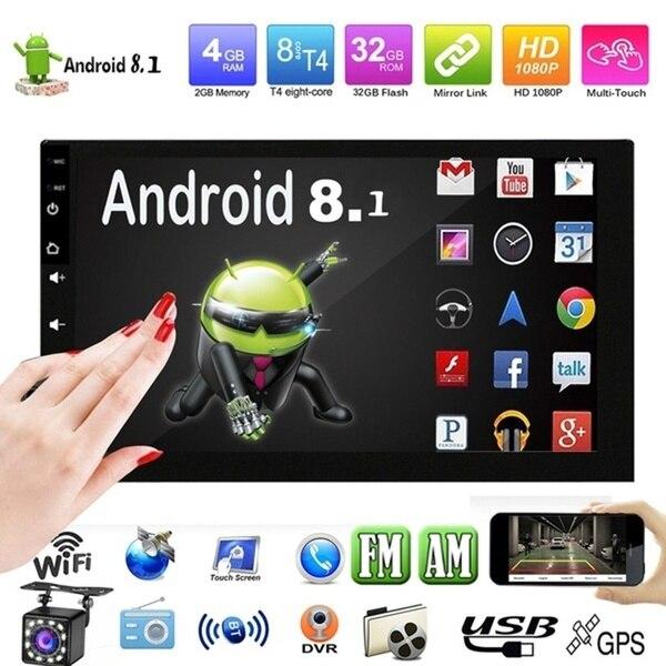 2 DIN Android 8.1 รถวิทยุเครื่องเล่นวิดีโอมัลติมีเดีย Universal Auto สเตอริโอ GPS แผนที่สำหรับโฟล์คสวาเก้น Nissan Hyundai ...