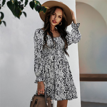 Spring Summer Print Dress Women Casual High Waist Butterfly Sleeve Slim For New Fashion Square Collar