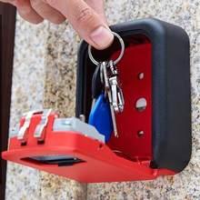 Trava de parede para chave, caixa de fechadura para chave, armazenamento seguro, trava com senha, 4 dígitos, combinação, resistente às intempéries, fechaduras de liga de alumínio