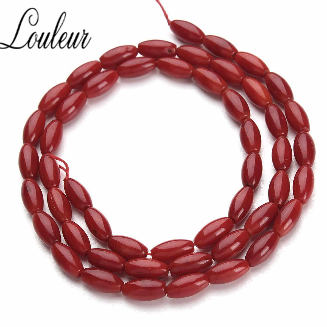 1 Strand/lot 4x8mm czerwony ryż koral rury Cylinder koraliki pół kamień szlachetny luźne koraliki na naszyjnik bransoletka biżuteria F2790