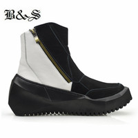 Black& Street tank sole patchwork Mixed colors genuine leather trainer men Boots zipper thick sole sneaker vintage Boots