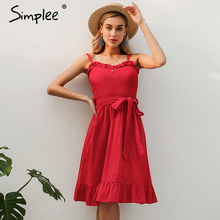 Simplee Sleeveless women cotton dress elegant Ruched sashes bow midi summer dresses Sexy solid female party vestidos 2019