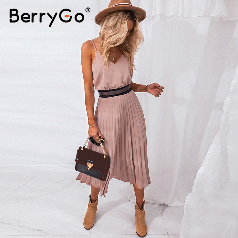 BerryGo Sexy spaghetti strap summer dress women A-line hot pink female pleated midi dress Casual office ladies party dresses(China)