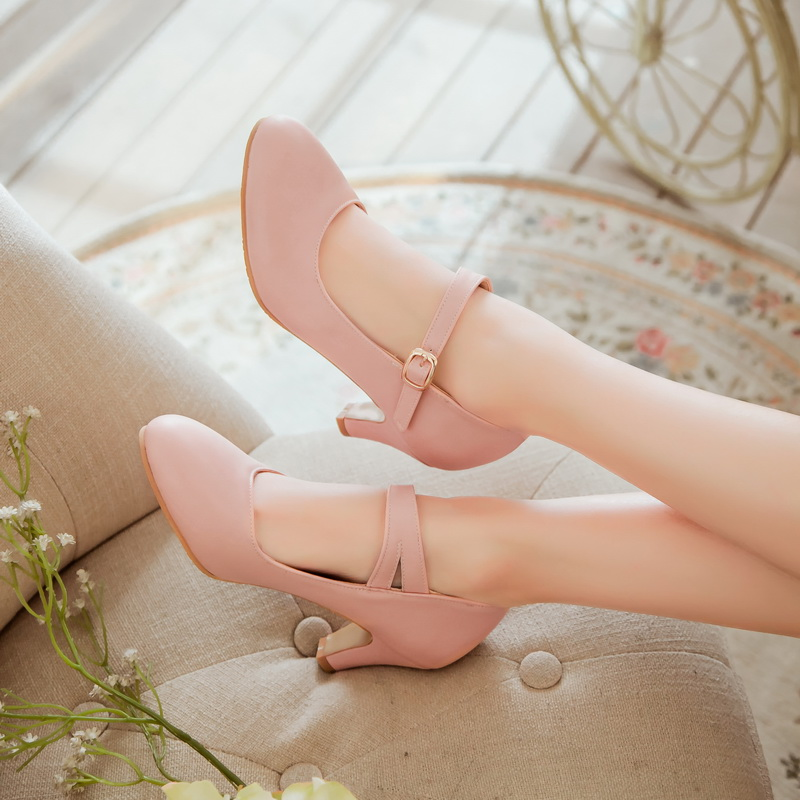 Women Platform Block High Heel Mary Jane Shoes Classic Pumps Party Ankle Strap