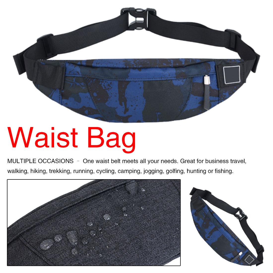 Fanny Pack Black Waterproof Money Belt Bag Men Purse Teenager's Travel Wallet Belt Male Waist Bags Cigarette Case For Phone