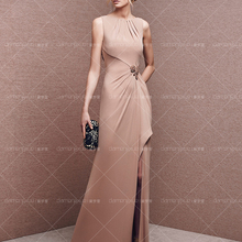 new design vestido de festa long sexy backless Front Split straight off the shoulder pleat champagne