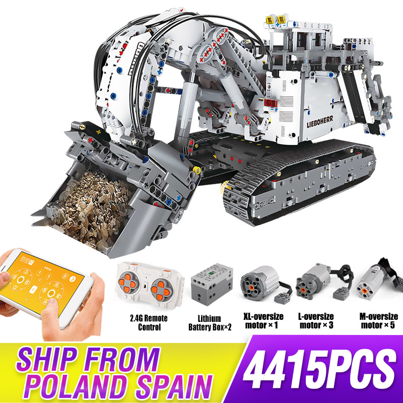 Technic Series Liebherr Terex RH400 Mining Excavator R 9800 Motor Car Model Building Blocks Bricks Compatible 42100 TOYS
