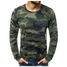 JAYCOSIN T Shirt Mens Casual Slim Camouflage Printed T Shirts homme Autumn Long Sleeve O Neck Men T-shirt tshirt Tops 19AUG16(China)