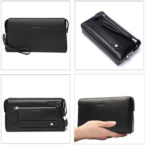 Image 2 - Мужской клатч из натуральной кожи BISON DENIM, черный бумажник на молнии, Длинный кошелек для телефона, 2019