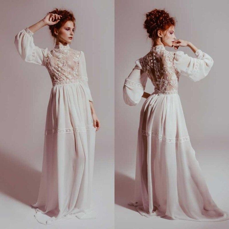 Cheap 2019 Wedding Dress Formal Women Robe Nightgown Sleepwear Bathrobe Pajamas Lace High Neck Special Prom Bridesmaid Shawel