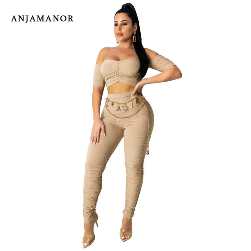ANJAMANOR Sexy Club 2 Piece Suit Bodycon Ruched Off Shoulder Crop Top And Pants Women Two Piece Outfits Plus Size 2020 D63-AE03
