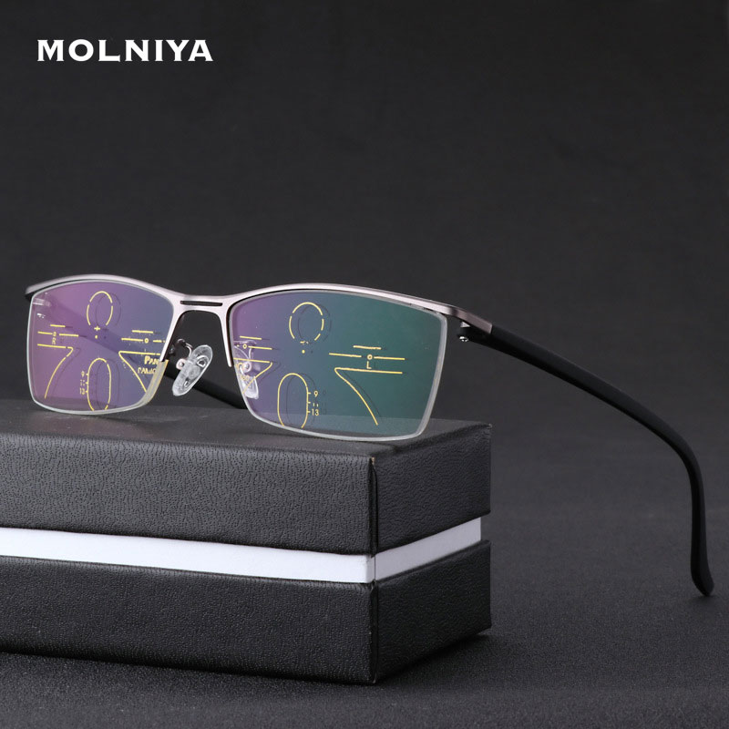 New Progressive Reading Glasses Men Color Changing Intelligent Zoom Eyeglasses Fashion Metal Frame Spectacles Multi-function