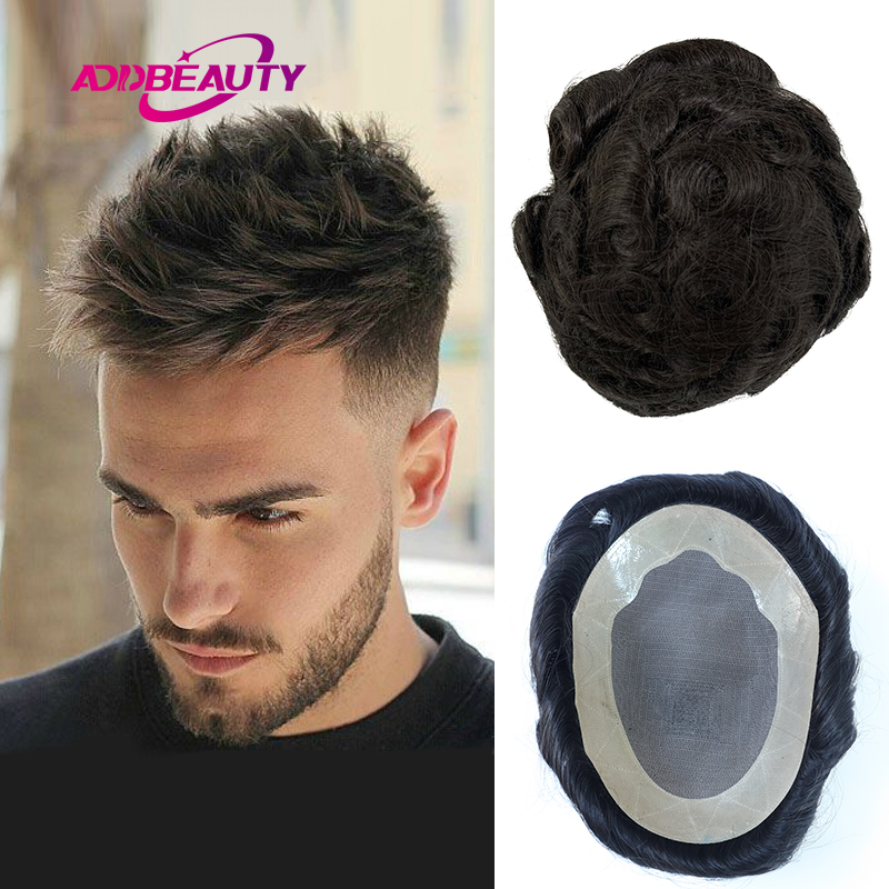 Men Toupees Human Hair Replacement Systems AddBeauty Mono NPU Indian Remy Hair Toupee with Tapes Mens Wave Hair Piece Wig 130%
