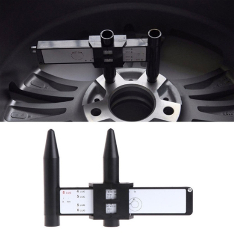 Wheel Rim Bolt Pattern Sliding PCD Measuring Tool Gauge Ruler 8 Holes PCD Ruler Lugs Hub Pitch Measurement Tool