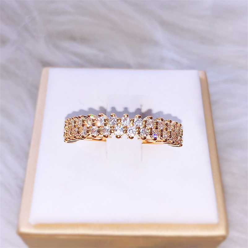 14 KGold Single-row Diamond Ring For Beauty Women 2 Carat Jewelry Wedding Bizuteria Gemstone 14 K Gold Diamond Engagement Rings