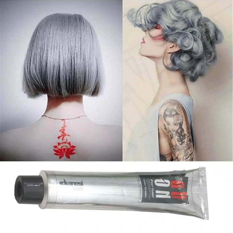 Fashion Gray Hair Color Wax Hair Gream Unisex Smoky Gray Punk Style Light Grey Silver Permanent Hair Dye Color Paint Wax