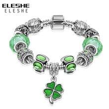 ELESHE Роскошный Серебряный Зеленый Кристалл «любовь навсегда» сердце Счастливый Клевер Шарм браслет подходит браслет для женщин DIY ювелирные изделия