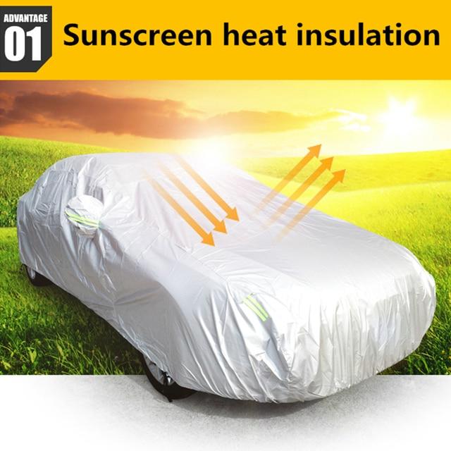 JIUWAN 유니버설 SUV 자동차 커버 태양 먼지 UV 보호 야외 자동 전체 커버 SUV 세단에 대 한 우산 실버 반사 스트라이프