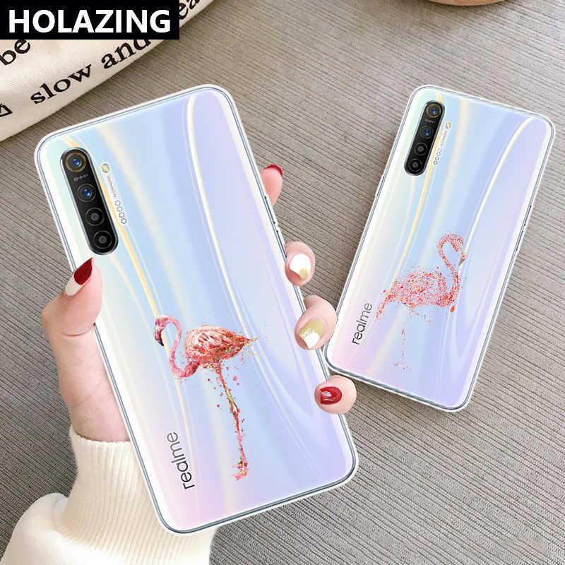 for OPPO Realme X2 Pro XT F11 F7 F5 F9 F15 Clear Case Pink Flamingo Printed Girls Phone Cases TPU Gel Cover
