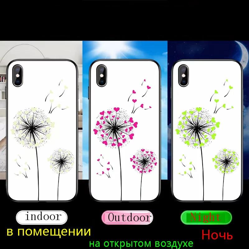H51e3c87b7da14035953ead4a07a4de56D Luminous Tempered Glass Case For iPhone 5 5S SE 6 6S 7 8 Plus Case Back Cover For iPhone X XR XS 11 Pro Max Case Cover Cell Bag