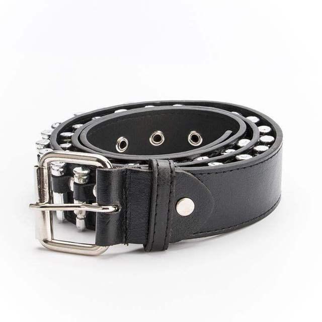 CETIRI Unisex Punk Bullet Belts High Quality Western Cowboy Style Men's Pants Belt Women Cowskin Belt Luxury Brand Black 3
