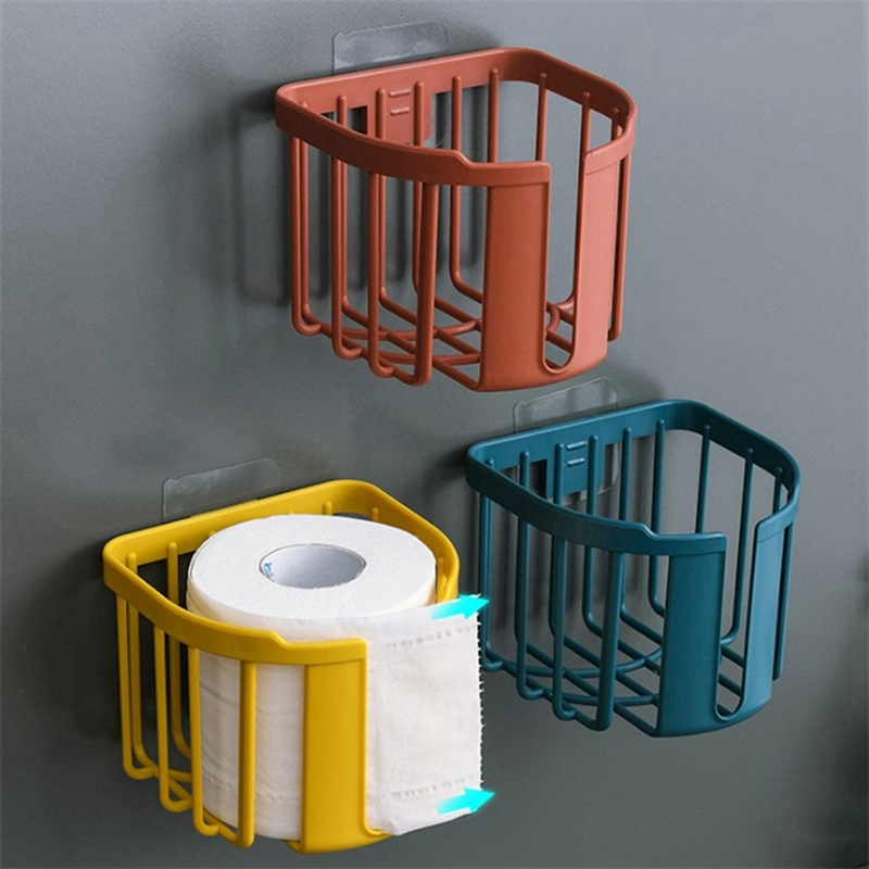 Wall Mount Toilet Paper Holder Punch-Free Roll Paper Shelf Toilet Paper Tray Waterproof Tissue Storage Box